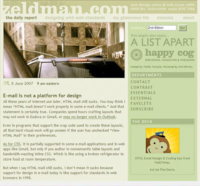 Zeldman's anti-HTML-email rant with MailChimp ad