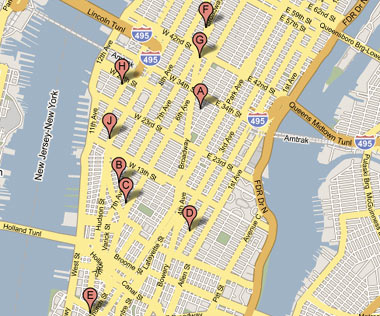 Google Maps search of Manhattan for lobster rolls