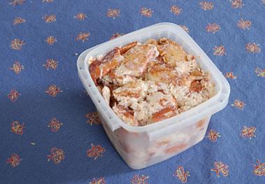 Tub of lobster salad