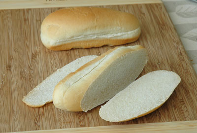 Frankfurter bun with trimmed crust