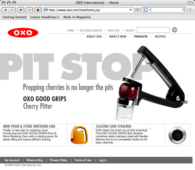 Oxo home page with cherry pitter