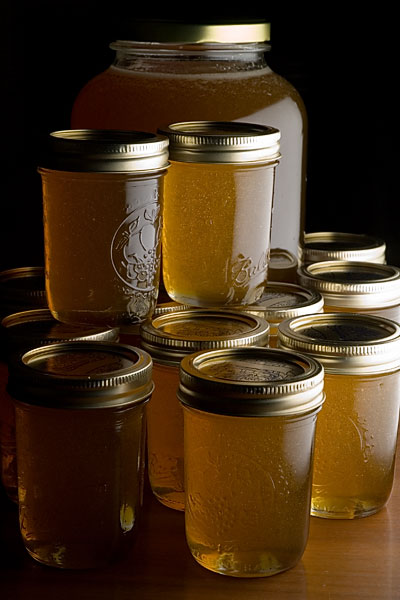 Jars of honey from the first harvest